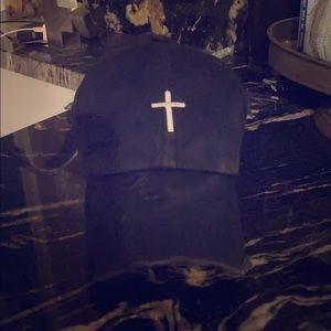 Black Cross pony tail cap